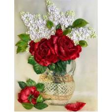 Набор Сирень и красные розы вышивка лентами