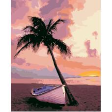Закат над океаном живопись на холсте 40х50