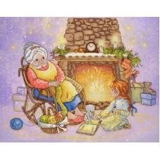 Рождественский вечер  набор диз.канва+мулине 28х35 МП-Студия РК-519