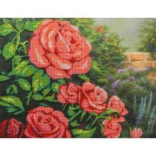 Красные розы набор габардин+бисер 28х35 МП-Студия БГ-231
