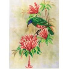 Птичка с цветами  набор диз.канва+мулине 30х22 МП-Студия РК-310