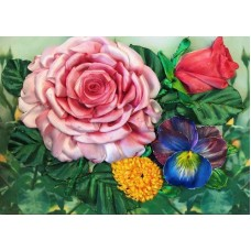 Набор Цветочный этюд вышивка лентами 18,3х24,3 Каролинка КЛ(Н)-4011
