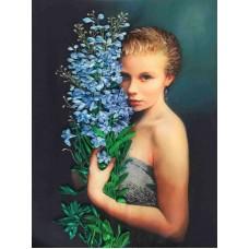 Набор Девушка с васильками вышивка лентами 26х36,5 Каролинка КЛ(Н)-3025