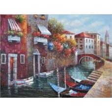 Канал в Венеции набор для выкладывания стразами 65х50 Jing Cai Ge Diamond Painting DIY (Honey Home) 1087