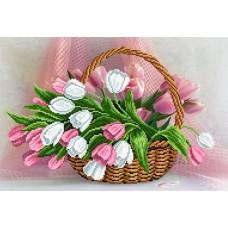 Тюльпаны в корзинке Рисунок на шелке 37/49 37х49 (26х38) Матренин Посад 4099