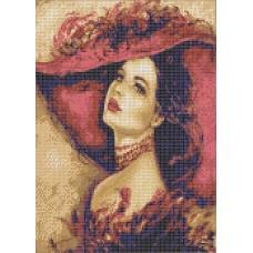 Дама в шляпе Рисунок на ткани 26,8х33 Каролинка ТКБЛ 3049