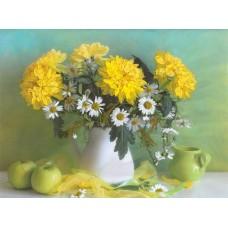 Желтые хризантемы Набор для вышивания лентами 50х50 (32х40) Матренин Посад 7004/Л
