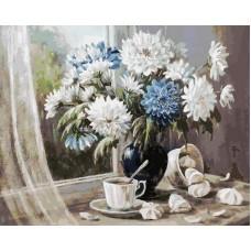 Хризантемы - цветы запоздалые живопись на холсте 40*50см 40х50 Белоснежка 147-AB