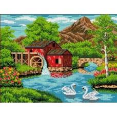 Старая мельница Рисунок на канве 23х30 Каролинка КК 017