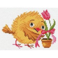 Цыпленок с тюльпаном Рисунок на канве 16/20 16х20 (10х13) Матренин Посад 1667