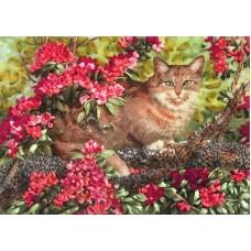 Набор Кот в цветах вышивка лентами 26х34,7 Каролинка КЛ(Н)-3024