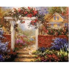 Цветущая усадьба живопись на холсте 40*50см 40х50 Белоснежка 317-AB