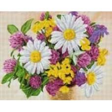Букет полевых цветов мозаика на подрамнике 40х50