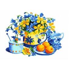 Натюрморт с персиками Рисунок на канве 22х29 Каролинка КК 060