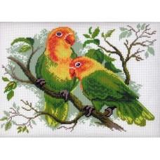 Попугаи неразлучники Рисунок на канве 28/37 28х37 (21х29) Матренин Посад 444