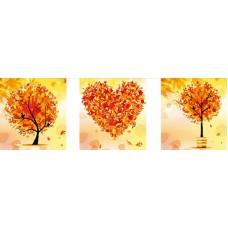 Триптих. Осень набор для частичной  выкладки стразами 70х64 3шт. Солнце F-3090