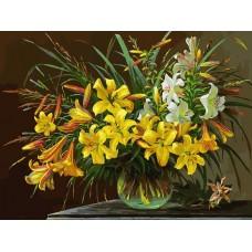 Золотая лилия живопись на холсте 30*40см 30х40 Белоснежка 133-AS