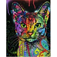Цветной кот живопись на холсте 40х50см