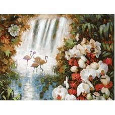Райский сад живопись на холсте 30*40см 30х40 Белоснежка 093-AS
