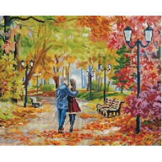 Осенний парк, скамейка, двое Мозаика на подрамнике 40х50 40х50 Белоснежка 252-ST-S