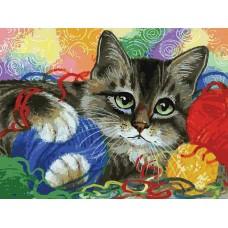 Котик с клубочками живопись на картоне 30*40см 30х40 Белоснежка 3005-CS