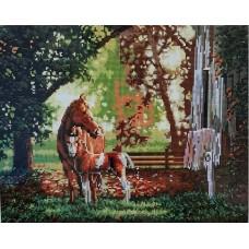 Лошадь с жеребенком мозаика на подрамнике 40х50 40х50 Painting Diamond GF0024