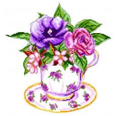 Роза в чашке Рисунок на канве 28/37 28х37 (22х23) Матренин Посад 1906