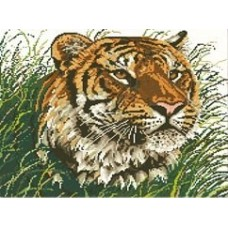 Тигр в траве набор для выкладывания стразами 50х47 Jing Cai Ge Diamond Painting DIY (Honey Home) 7160