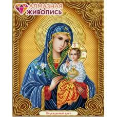 Икона Богородица Неувядаемый цвет набор для частичной  выкладки  22х28 Алмазная живопись АЖ-5039
