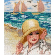 Дама у моря  набор для вышивания бисером 23х29 МП-Студия БК-246