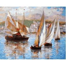 Морская прогулка по Италии живопись на холсте 40*50см 40х50 Белоснежка 033-AB
