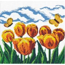 Жёлтые тюльпаны набор для вышивания бисером 27х27 МП-Студия БК-019
