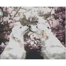 Собачки весной живопись на холсте 40х50