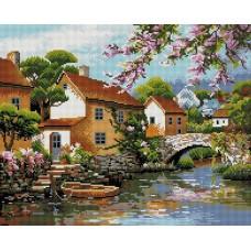 Деревенька у канала Мозаика на подрамнике 40х50 40х50 Белоснежка 308-ST-S