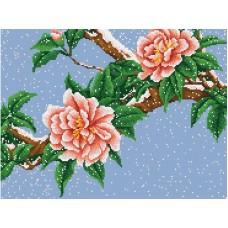 Цветы под снегом рисунок на канве 29/39 29х39 Конек 7805