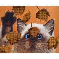 Котик в листьях набор габардин+бисер 22х28 МП-Студия БГ-182