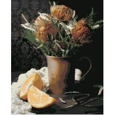 Протея и апельсины живопись на холсте 40х50