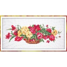 Корзина с розами Набор для вышивания крестом 40х80 (26х72) Матренин Посад 6009/СК
