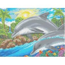 Дельфин Рисунок на канве 31х45,4 Каролинка КК 204