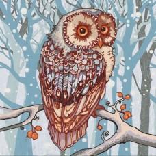 Снежная сова (рис. на сатене 40х40) (строчный шов)