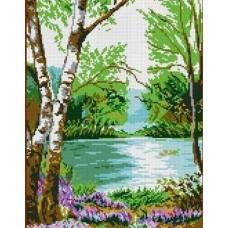 У реки Рисунок на канве