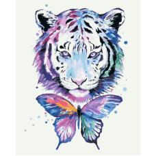 Радужный тигр живопись на холсте 40х50