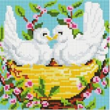 Пара голубей Мозаика на подрамнике 20х20 20х20 Белоснежка 367-ST-S
