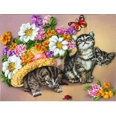 Набор Котята вышивка лентами 18,4х23,7 Каролинка КЛ(Н)-4007