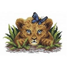 Львенок в траве Рисунок на канве 30х21см 30х21 МП-Студия СК-064