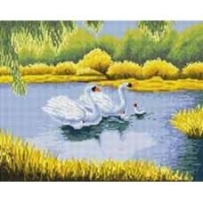 Белые лебеди мозаика на подрамнике 40х50