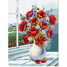 Маки на окне мозаика на подрамнике 40х50