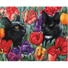 Среди тюльпанов  живопись на холсте 40*50см 40х50 Белоснежка 191-AB