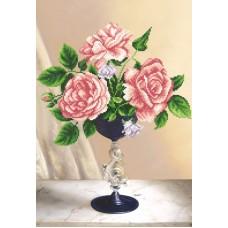 Розовое трио (рис. на ткани 39х27) 39х27 Магия канвы КС-025