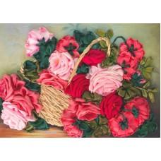 Набор Корзина с розами вышивка лентами 25х32,5 Каролинка КЛ(Н)-3027